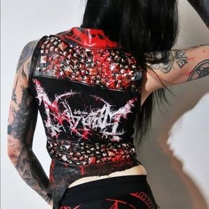 Mayhem Bloody Studded Genuine + Faux Leather Vest